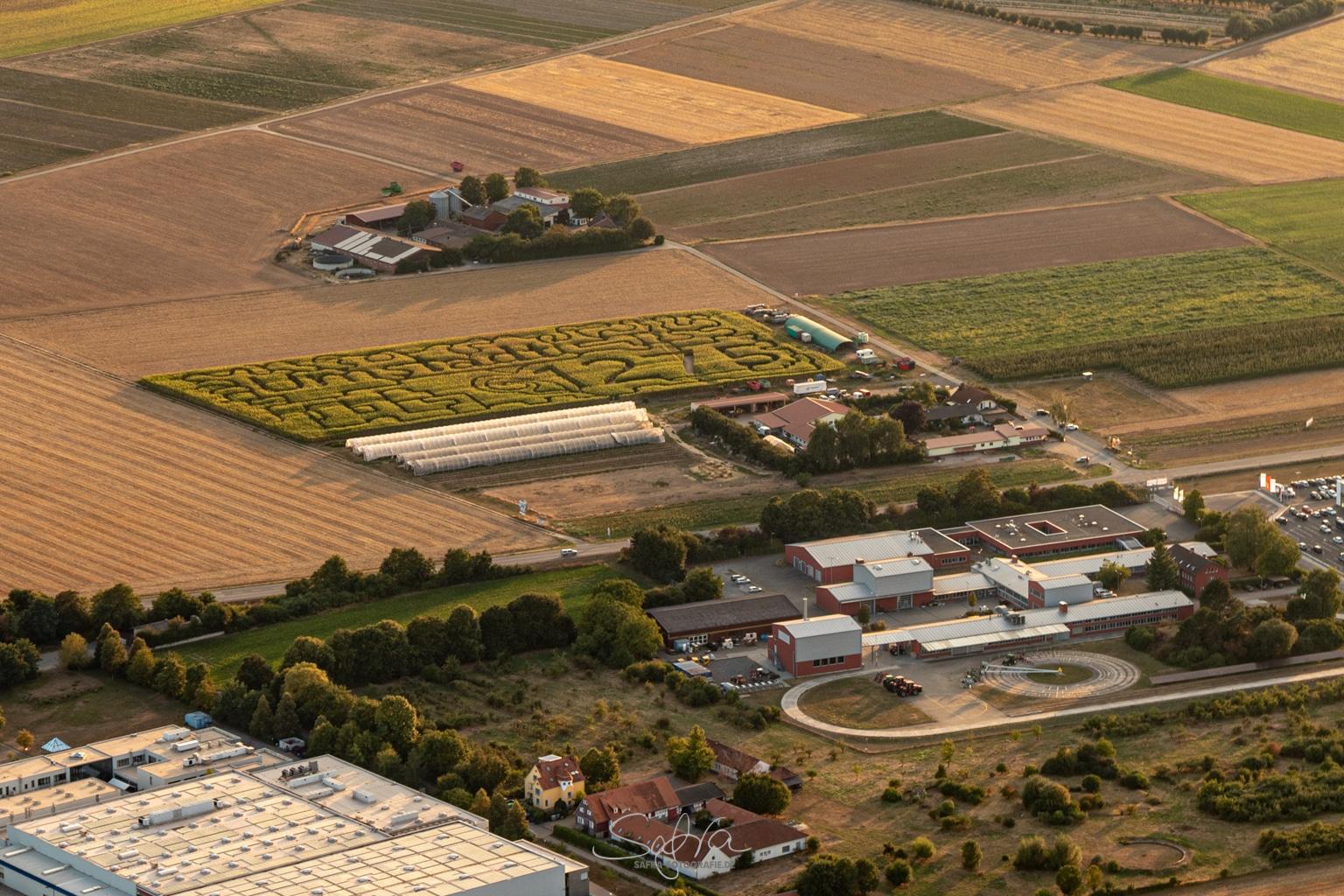 Heißluftballonfahrt, Umstädter Maislabyrinth
