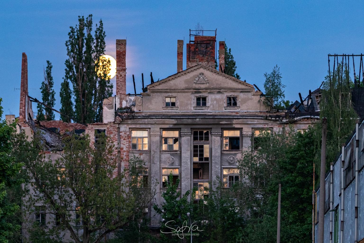 Chemnitz, verlassener Vollmond